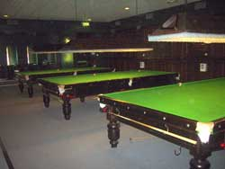 The 3 full size tables in the Snooker Room